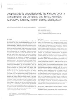 Analyses de la dégradation du lac Kinkony pour la conservation du Complexe des Zones Humides Mahavavy - Kinkony, Région Boeny, Madagascar