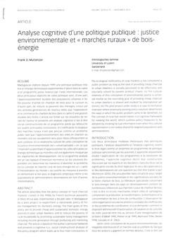 Analyse cognitive d'une politique publique: justice environnementale et ?march?s ruraux? de bois-?nergie