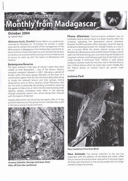 Monthly from Madagascar: Madagascar Fauna Group: October 2004: Volume 1, Issue 3
