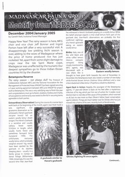 Monthly from Madagascar: Madagascar Fauna Group: December 2004 / January 2005: Volume 2, Issue 1