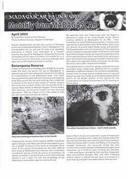 Monthly from Madagascar: Madagascar Fauna Group: April 2005: Volume 2, Issue 4
