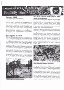 Monthly from Madagascar: Madagascar Fauna Group: October 2005: Volume 2, Issue 9