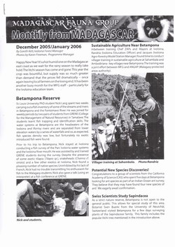 Monthly from Madagascar: Madagascar Fauna Group: December 2005 / January 2006: Volume 3, Issue 1