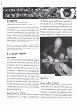 Monthly from Madagascar: Madagascar Fauna Group: April 2006: Volume 3, Issue 4