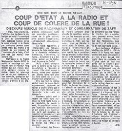 Dire que tout le monde savait? Coup d'état ? la radio et coup de col?re de la rue!: Midi Madagasikara, 30 juillet 1992