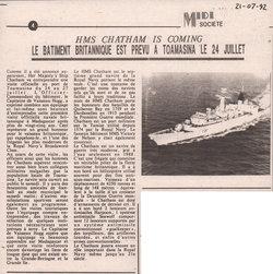 HMS Chatham is coming: Le b?timent britannique est prévu a Toamasina le 24 Juillet: Midi Madagasikara, no. 2712, mardi 21 juillet 1992