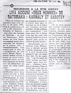 Incursion à la RTM Anosy: Liva accusé «Deux Hommes» de Ratsiraka: Karmaly et Sabotsy: Midi Madagasikara, 31 juillet 1992