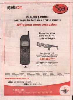 Madacom: Advertisement from Midi Madagasikara no. 5428 (Wednesday 20 June 2001)