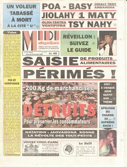 Midi Madagasikara: Vendredi 29 décembre 2006