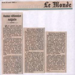 Houleux référendum malgache: Le Monde, Jeudi 20 août 1992