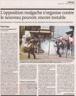 L'opposition malgache s'organise contre le nouveau pouvoir, encore instable: Le Monde, Dimanche 29 - Lundi 30 mars 2009