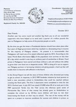 Money for Madagascar Letter: October 2013