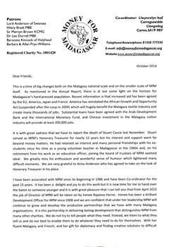 Money for Madagascar Letter: October 2014