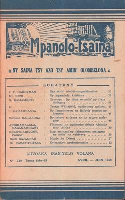 Ny Mpanolo-tsaina: No. 219: Avril-Juin 1958