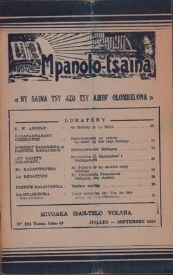 Ny Mpanolo-tsaina: No. 224: Juillet-Septembre 1959