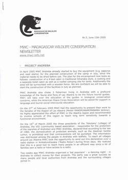 Madagascar Wildlife Conservation Newsletter: Nr. 5, June 13th 2005