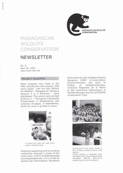 Madagascar Wildlife Conservation Newsletter: No. 9, April 30, 2007