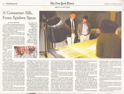 A Gossamer Silk, From Spiders Spun: Article from The New York Times (Sunday 4 October 2009)