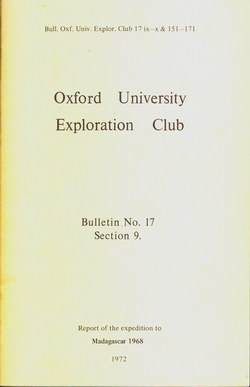 Report of the expedition to Madagascar 1968