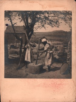 Women pounding rice