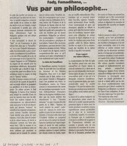 Fady, Famadihana, ... Vus par un Philosophe...: Le Quotidien Article (10 December 2004)