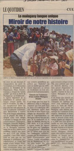 Le Malagasy Langue Unique: Miroir de notre Histoire: Le Quotidien Article (24 November 2005)