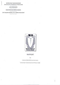 Rapport du Général Raoelina Jean Heriniaina concernant l'événement du 07 février 2009