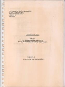 Etude des N?ologismes et Emprunts en Malgache Standard Contemporain: Mémoire de Ma?trise