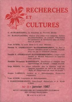 Recherches et Cultures: No. 3: janvier 1987