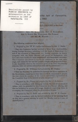 Resolutions passed by foreign residents in Antananarivo on the accession in 1883 of Ranavalona III: At a Meeting of the Committee held at Faravohitra, July 14th, 1883