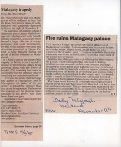 Malagasy tragedy / Fire ruins Malagasy palace: The Times, 10 November 1995 / Daily Telegraph Weekend, 11 November 1995
