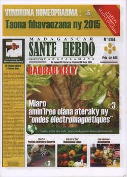 Madagascar Santé Hebdo: No 104; Du samedi 7 février au vendredi 06 mars 2015