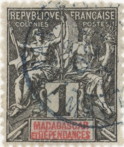 Navigation and Commerce: 1-Centime Postage Stamp