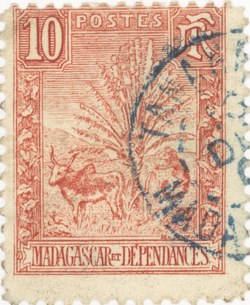 Zebu and Ravenala: 10-Centime Postage Stamp