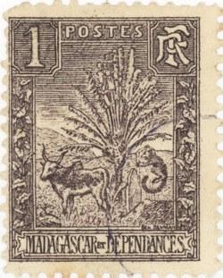 Zebu and Ravenala: 1-Centime Postage Stamp