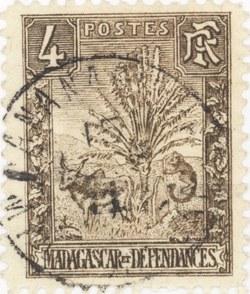 Zebu and Ravenala: 4-Centime Postage Stamp