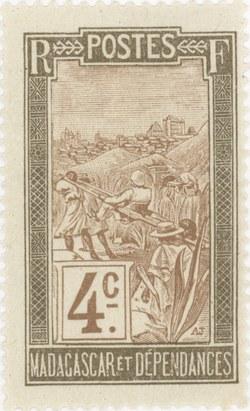 Filanjana: 4-Centime Postage Stamp