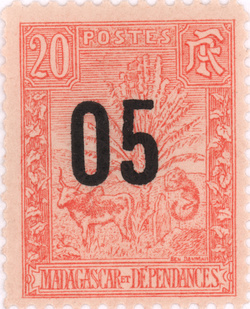Zebu and Ravenala: 20-Centime Postage Stamp with 5-Centime Surcharge