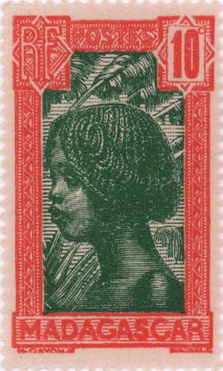 Hova Girl: 10-Centime Postage Stamp