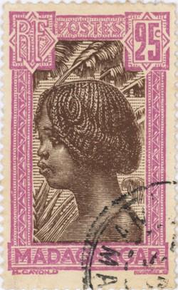 Hova Girl: 25-Centime Postage Stamp