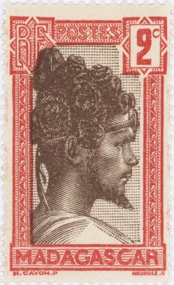 Sakalava Chief: 2-Centime Postage Stamp