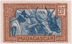 Zebu and Herdsman: 20-Centime Postage Stamp