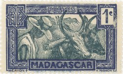 Zebu and Herdsman: 1-Centime Postage Stamp