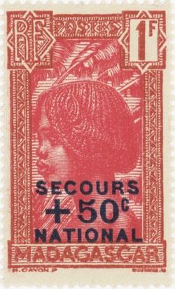 Hova Girl: 1+0.5-Franc Postage Stamp