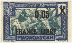Zebu and Herdsman: 1-Centime Postage Stamp with 0.05-Franc Surcharge