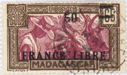 Zebu and Herdsman: 65-Centime Postage Stamp with 50-Centime Surcharge