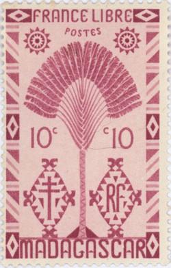 Ravenala Design: 10-Centime Postage Stamp