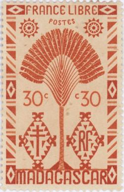 Ravenala Design: 30-Centime Postage Stamp