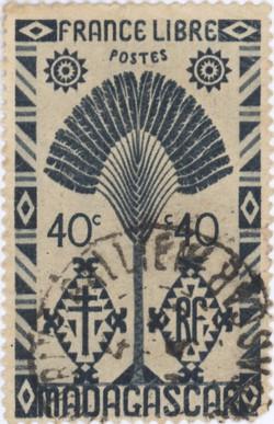 Ravenala Design: 40-Centime Postage Stamp