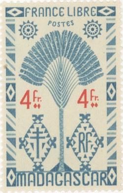 Ravenala Design: 4-Franc Postage Stamp